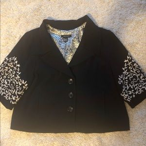 Beautiful Black Blazer with Embroidered Sleeves
